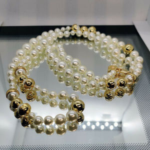 Tory Burch Gold Classic Copped Pearl Long Necklace